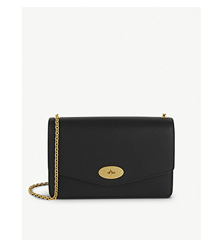 MULBERRY Darley large leather clutch (Black