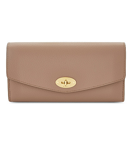 MULBERRY Darley grained leather wallet (Dark+blush