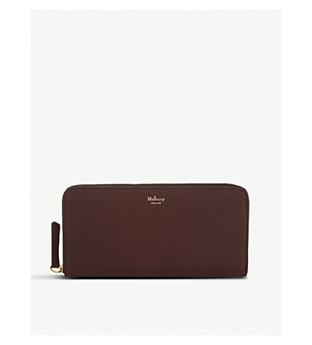 MULBERRY 8 CC grained leather zip-around wallet (Burgundy