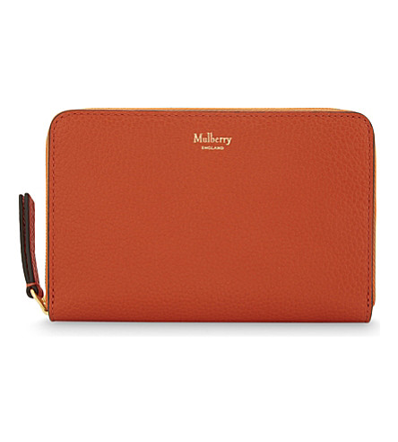 MULBERRY Grained leather medium zip-around wallet (Bright+orange