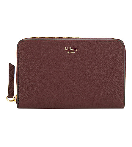 MULBERRY Grained leather medium zip-around wallet (Burgundy