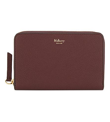 MULBERRY Grained leather medium zipper-around wallet (Burgundy