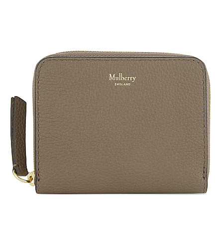 MULBERRY Small grained leather zip-around purse (Clay
