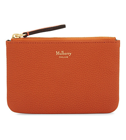 MULBERRY Grained leather coin pouch (Bright+orange
