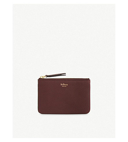 MULBERRY Small grained leather coin pouch (Burgundy