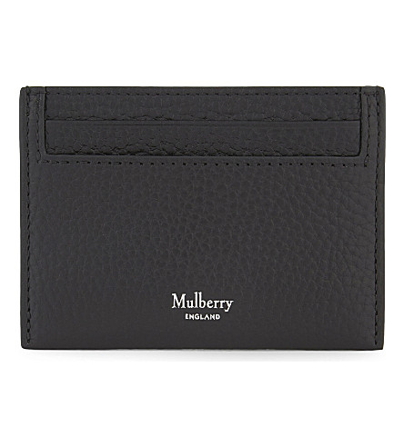 MULBERRY Grained grained leather card holder (Black