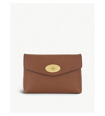 MULBERRY Darley small grained leather pouch (Oak