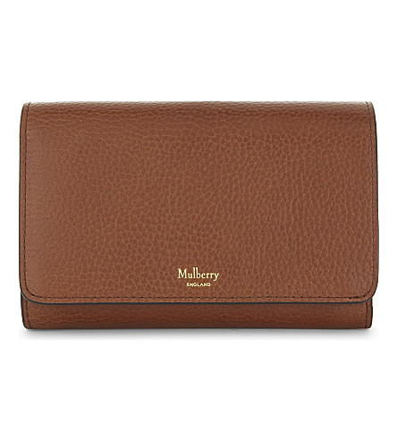 MULBERRY Medium grained leather continental French purse (Oak