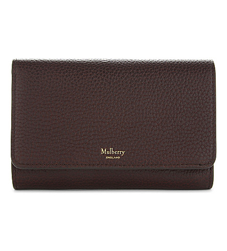 MULBERRY Medium grained leather continental French purse (Oxblood