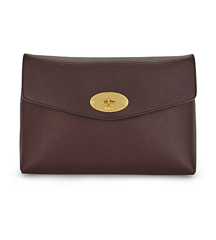 MULBERRY Darley large leather cosmetic pouch (Oxblood