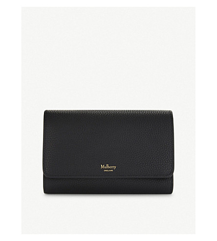 MULBERRY French medium grained leather continental wallet (Black