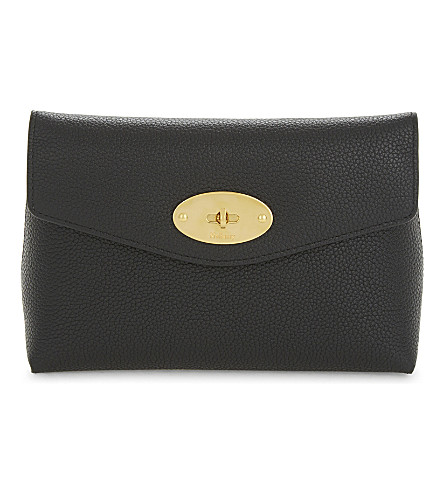 MULBERRY Darley small grained leather cosmetic pouch (Black
