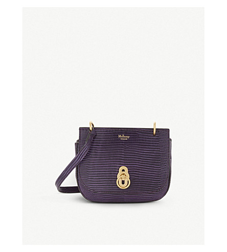 MULBERRY Mini Amberley lizard-embossed leather satchel (Dark+violet