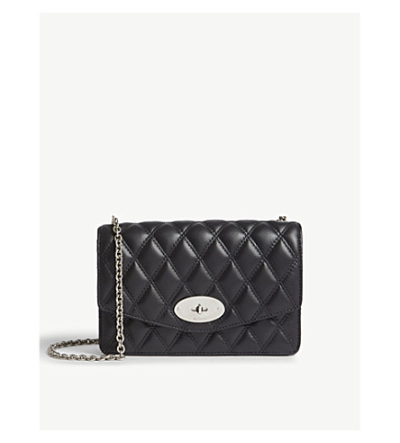 MULBERRY Darley quilted leather small cross-body bag (Black-silvertoned