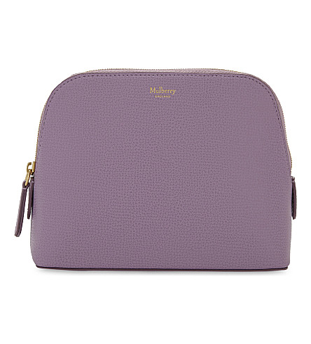 MULBERRY Logo cross-grain leather make-up bag (Lilac