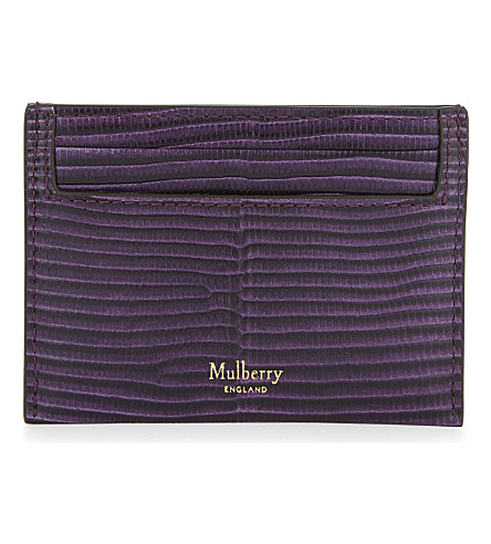 MULBERRY Lizard-embossed leather card holder (Dark+violet