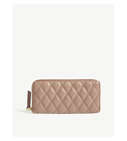 MULBERRY Quilted leather wallet (Dark+blush