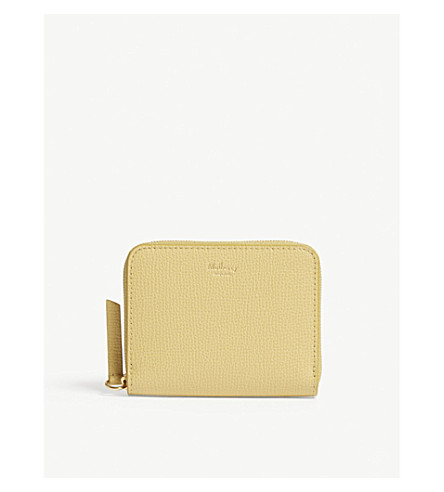 MULBERRY Small grained leather zip-around purse (Golden+yellow