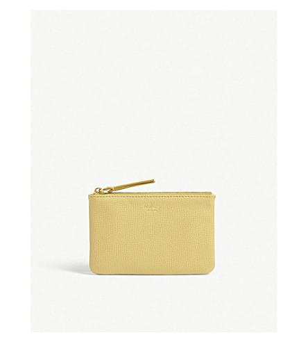 MULBERRY Logo grained leather coin pouch (Golden+yellow
