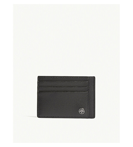 MULBERRY Tree grained leather card holder (Black