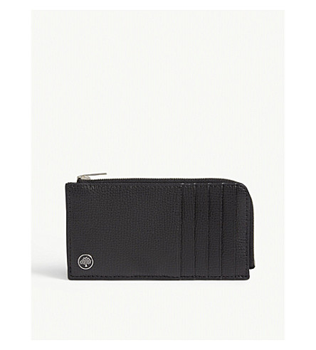 MULBERRY Half-zip pebbled leather card holder (Black