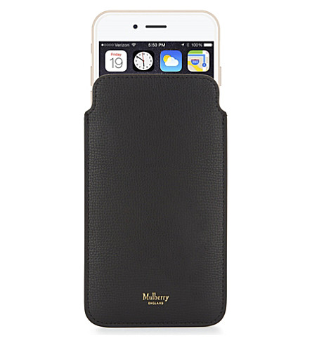 MULBERRY Logo grained leather iPhone 7 plus cover (Black