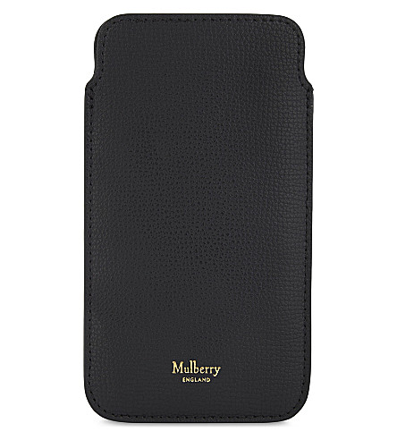 MULBERRY iPhone 7 grained leather cover and card slip (Black
