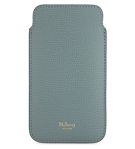 MULBERRY iPhone 7 leather cover and card slip (Antique+blue