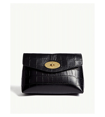 Darley croc-embossed leather small pouch