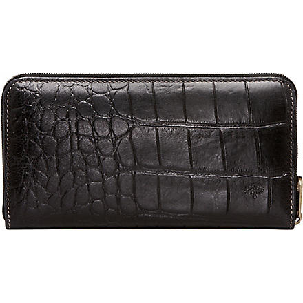 MULBERRY Croc-embossed wallet (Black