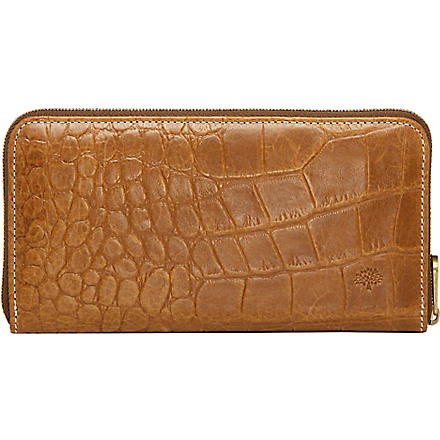 MULBERRY Croc-embossed wallet (Oak