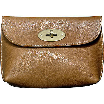 MULBERRY Locked leather cosmetic purse (Oak