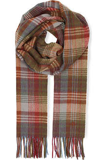 MULBERRY Checked cashmere-blend scarf