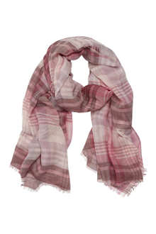 MULBERRY Check-print cashmere and wool-blend scarf