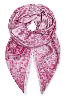 MULBERRY Leopard cashmere and modal blend scarf