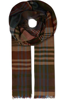 MULBERRY Lightweight checked scarf