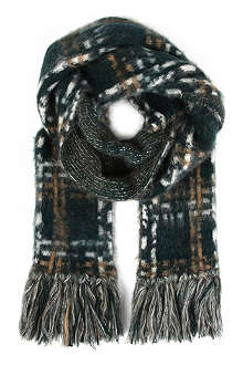MULBERRY Oversized brushed check scarf
