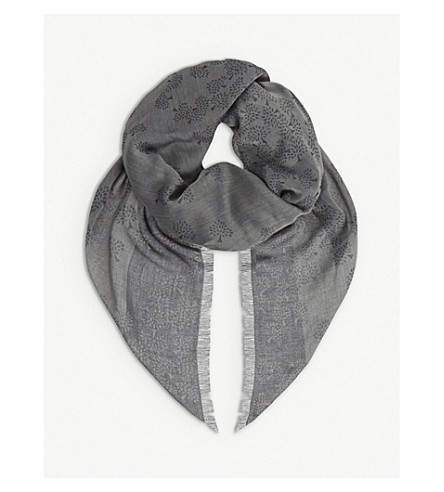 MULBERRY Tamara cotton scarf (Grey