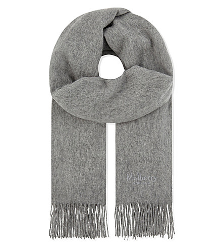 MULBERRY Solid lambswool scarf (Light+grey