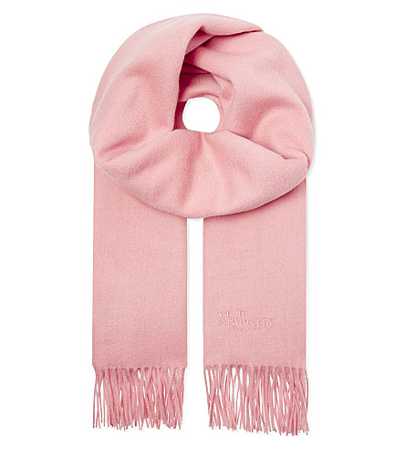 MULBERRY Lambswool logo scarf (Macaroon+pink