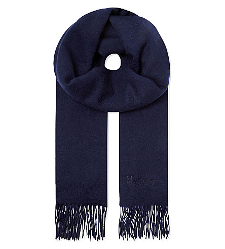 MULBERRY Lambswool logo scarf (Navy