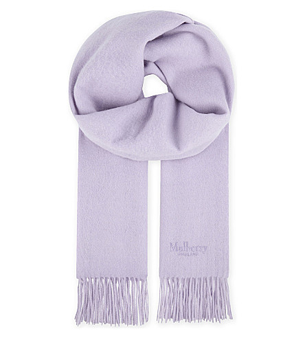 MULBERRY Solid lambswool scarf (Light+lilac