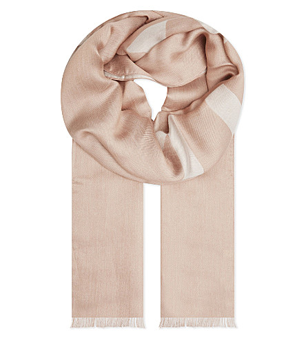MULBERRY Jacquard logo scarf (Rosewater