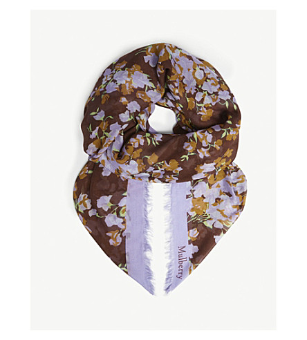 MULBERRY Floral print modal and silk scarf