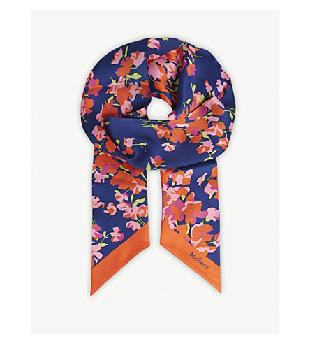MULBERRY Floral print skinny scarf