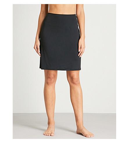 HANRO Deluxe satin slip skirt (Black
