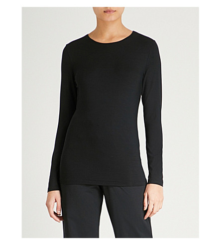 HANRO Soft Touch long-sleeved stretch-jersey top (Black