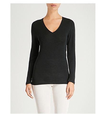 HANRO羊毛丝绸和丝绸混纺顶部 (黑色