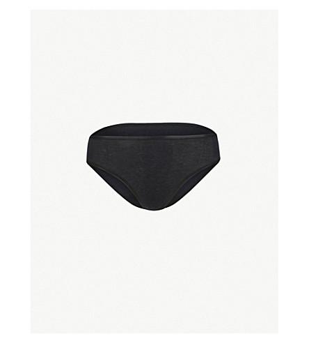 HANRO 无缝迷笛平纹针织棉三角裤 (黑色