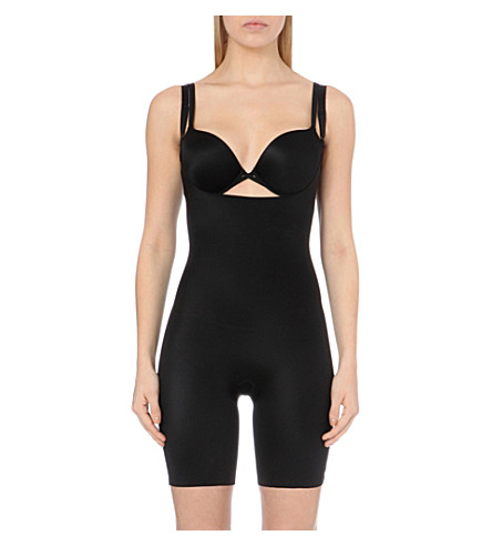 SPANX Slimplicity open-bust mid-thigh bodysuit (Black